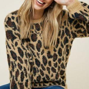 Leopard Print Fuzzy Soft Mohair Oversized Sweater